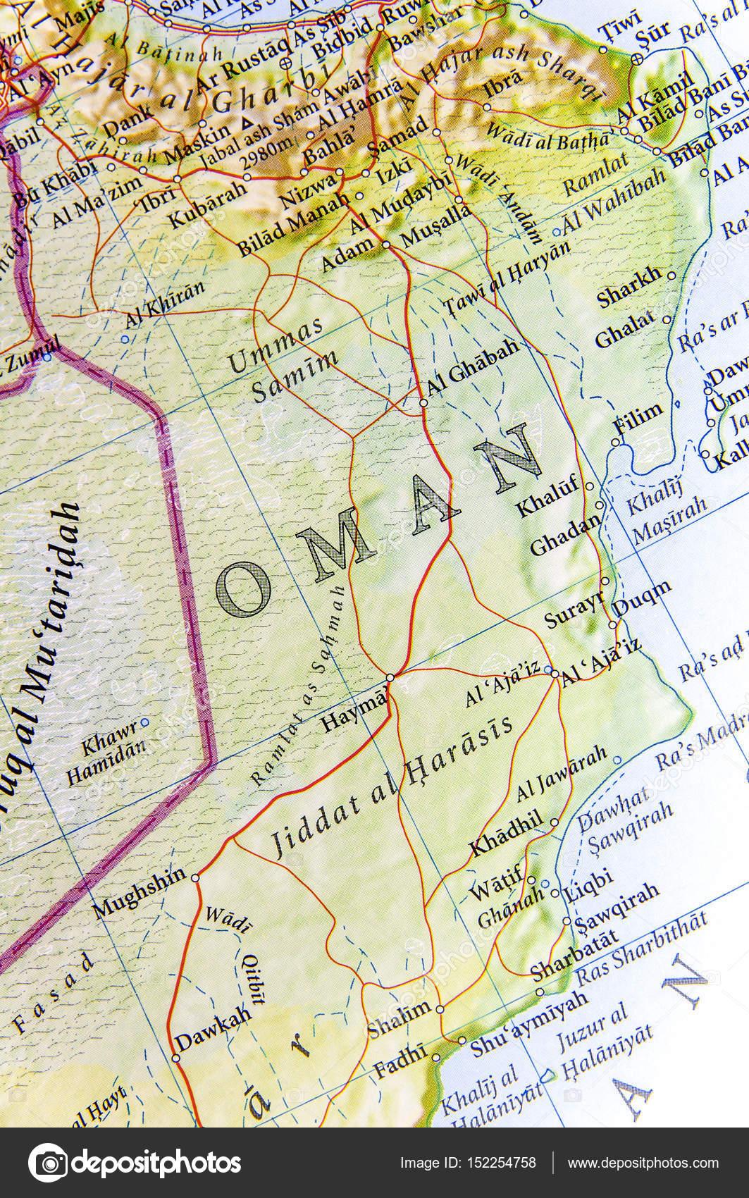 Karte Oman.Geographische Karte Von Oman Mit Wichtigen Städten Stockfoto