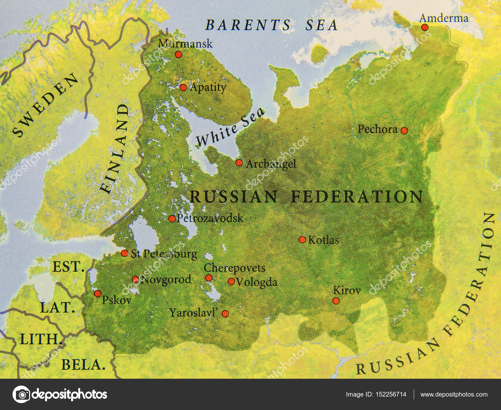 Geographic map of part of Russian Federation with important cite ...