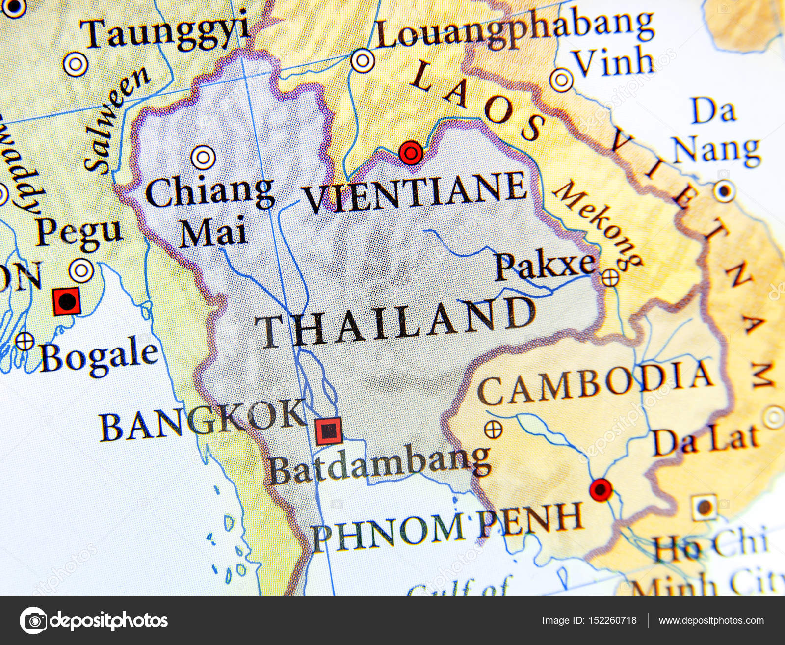 Image of: Geographic Map Of Thailand With Important Cities Stock Photo C Bennian 152260718