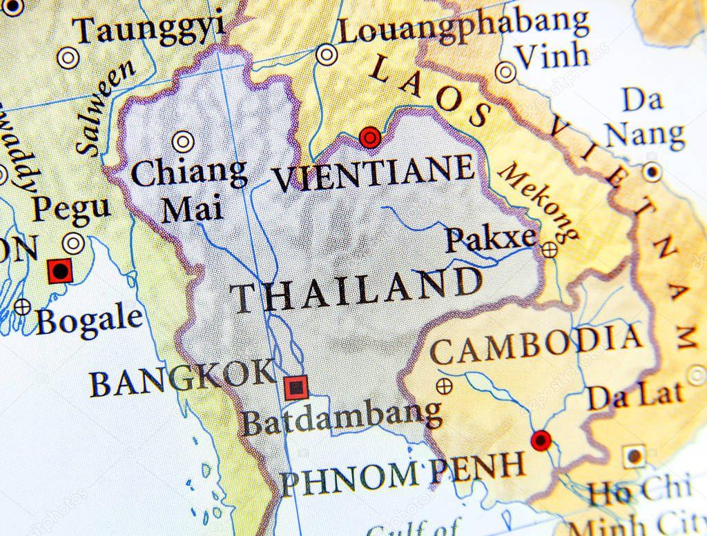 Karta Centrala Thailand.Geografiska Karta Over Thailand Med Viktiga Stader Stockfotografi