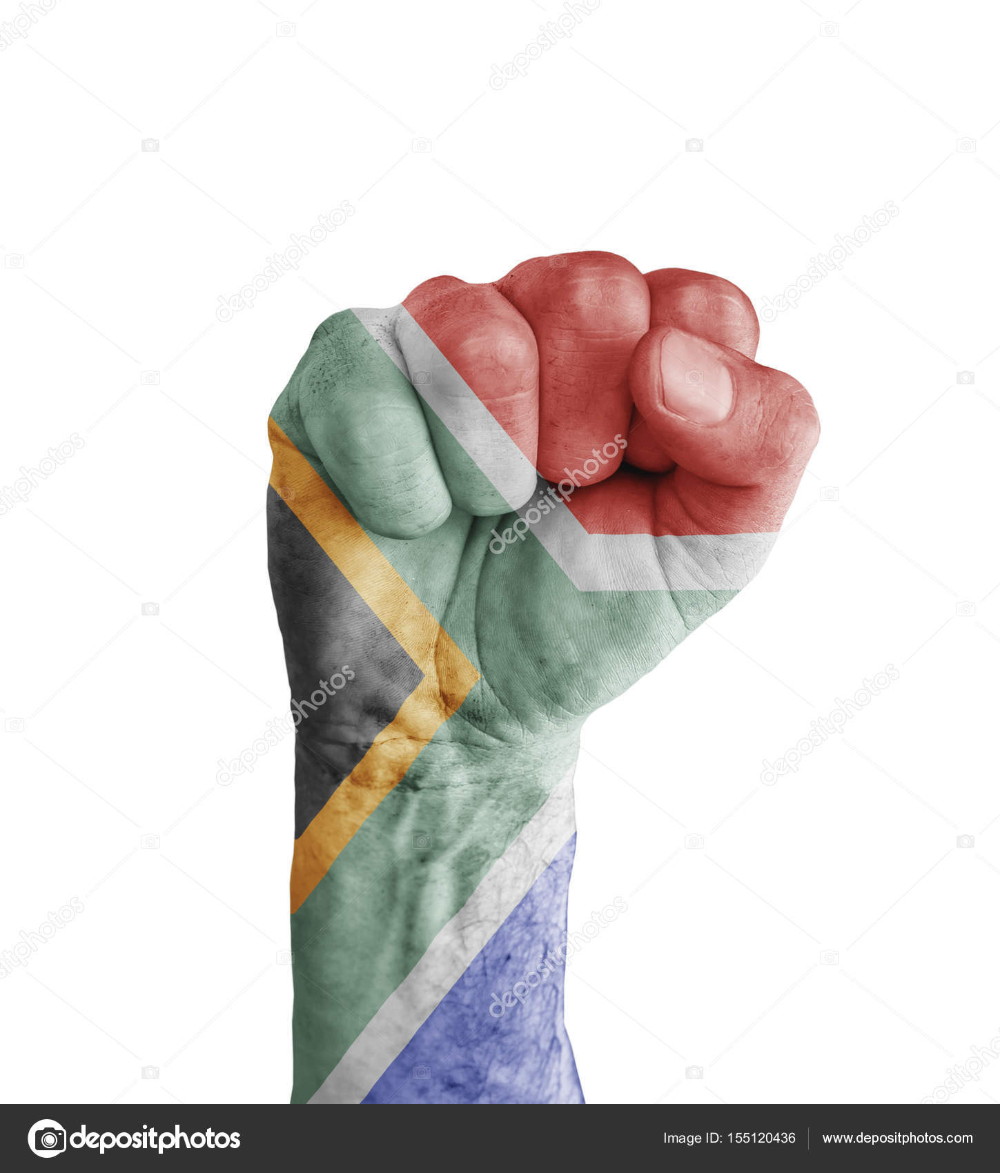 Flag Of South Africa Painted On Human Fist Like Victory Symbol