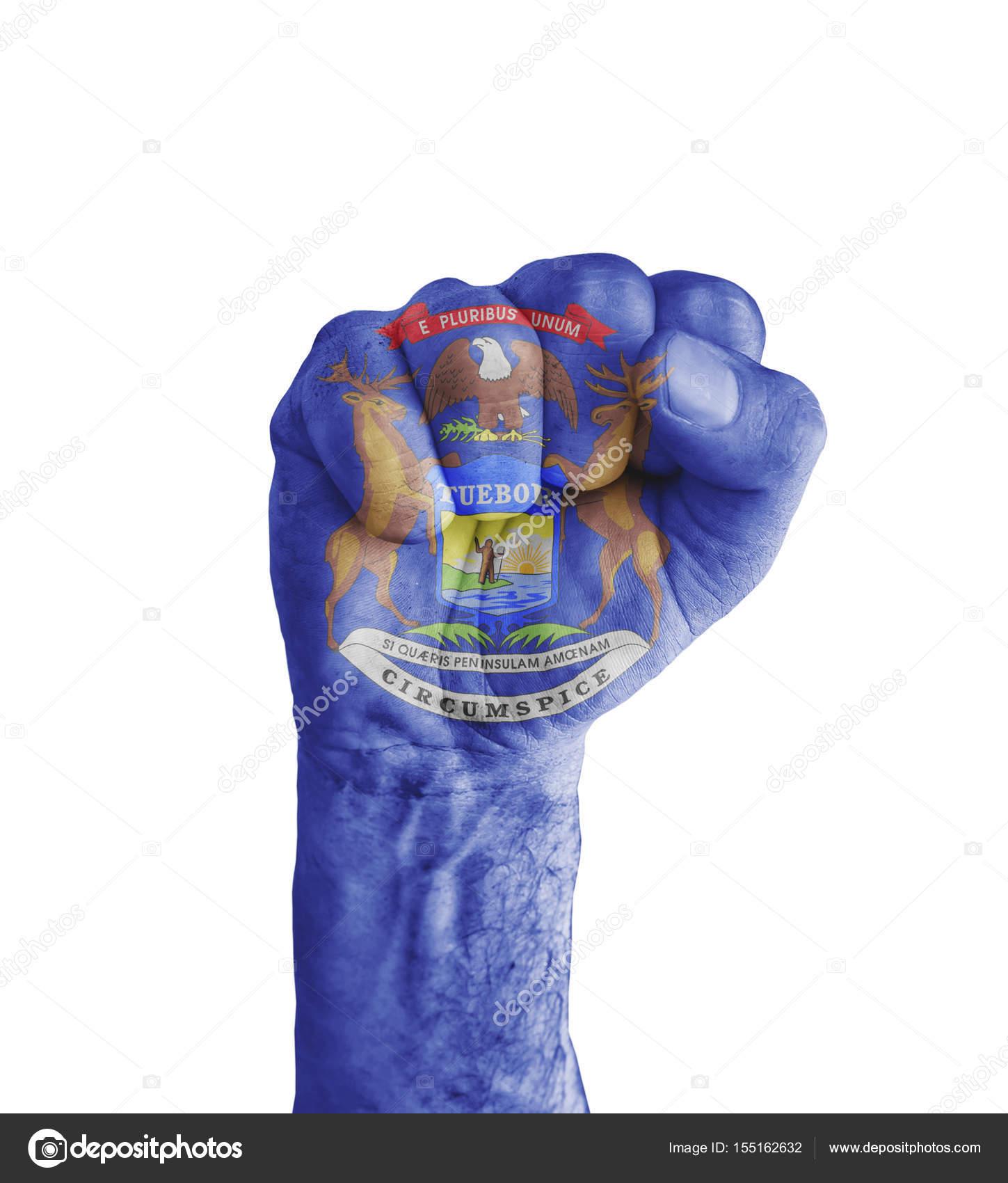 Bandera del estado de Michigan nos pintó en puño humano como ...