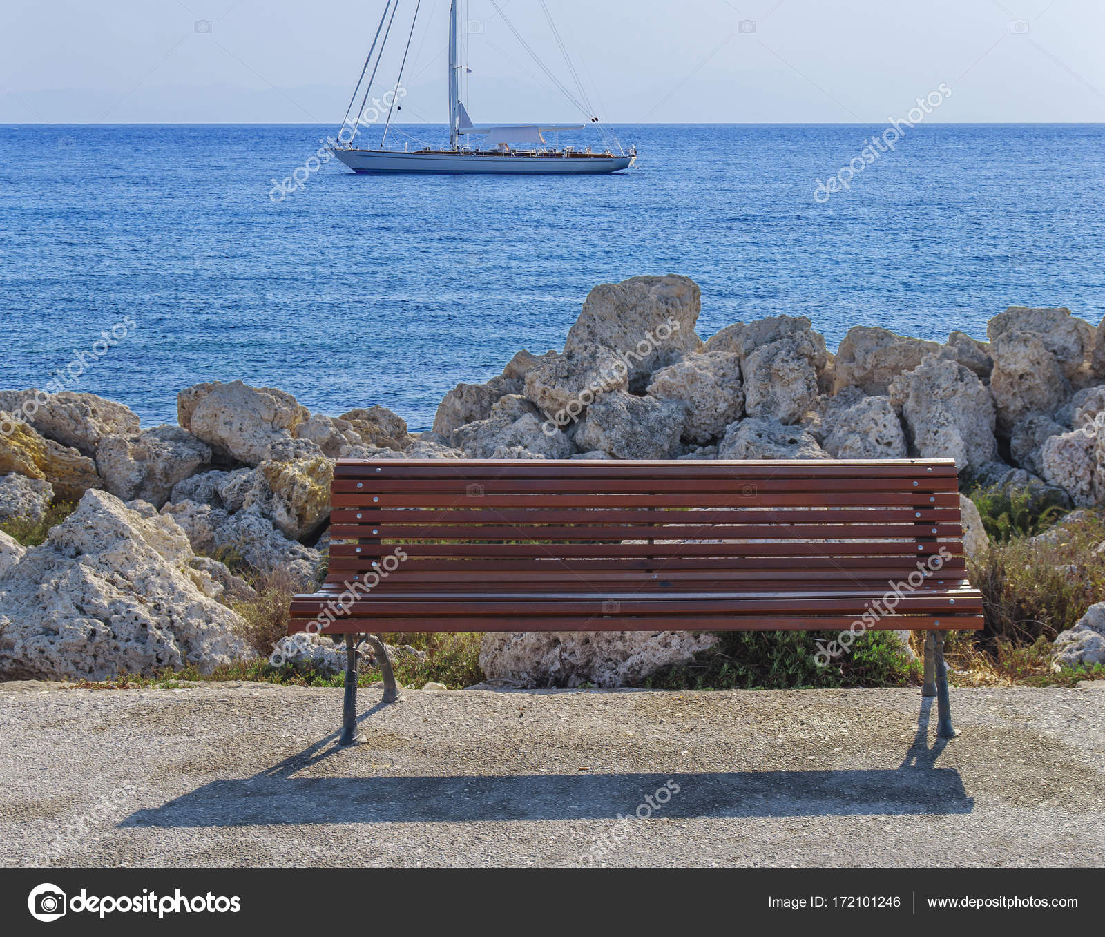 Magnificent Empty Wooden Bench At Boat Dock With Beautiful Blue Sea And Evergreenethics Interior Chair Design Evergreenethicsorg