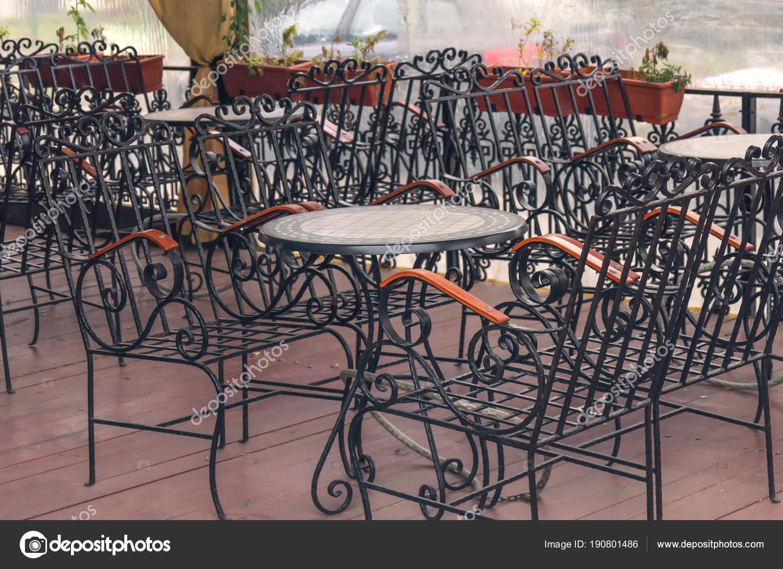 Eisen Tisch Und Stuhl Blak Mobel Outdoor Terrasse Des Restaurants
