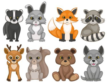 Cute forest animals isolated on a white background. Set of cartoon woodland animals.