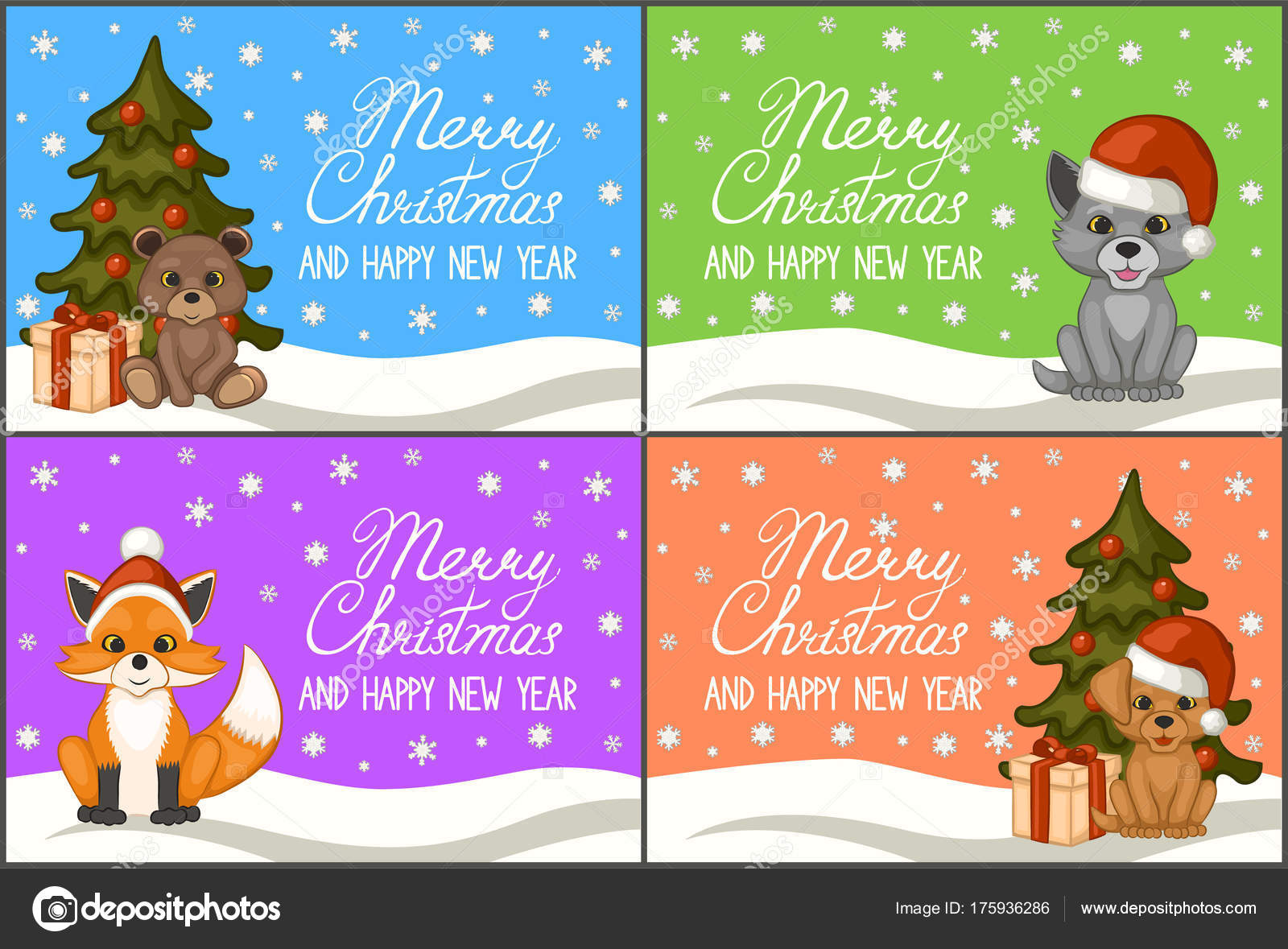 Merry Christmas Happy New Year Set Greeting Cards Posters Cute ...