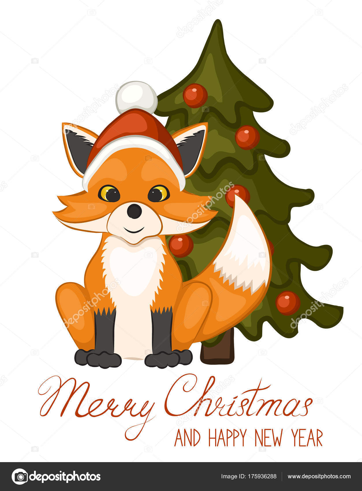 Cute Fox Red Santa Claus Hat Christmas Tree Isolated White — Stock ...
