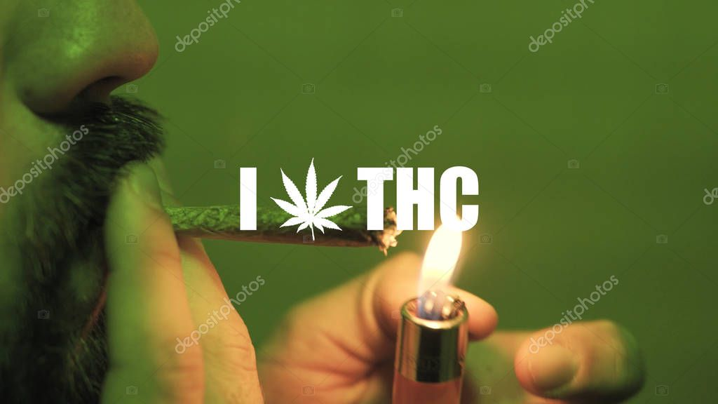 a young guy smoking a rolled jointer with weed buds inside in the green light close-up.