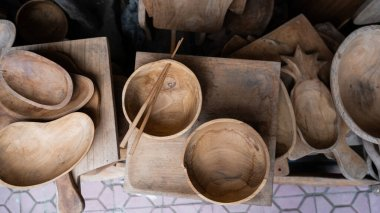 A variety of Balinese souvenirs and crafts for tourist sales. Rattan, teak and woodwork in Bali