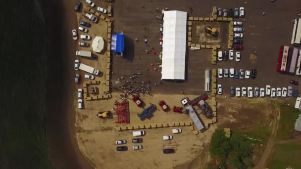 MANGUSH, UKRAINE - June 14, 2017: Aerial view of agricultural outdoor expo - Field Day, exhibition of agricultural technologies and machinery for landowners, landlords, farmers and agronomists.