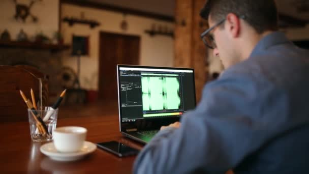 Sound designer or engineer working on laptop with audio mastering software  with waveform on screen  Dj man listening to music  Tracking and revealing  shot