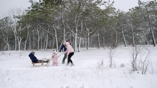 glückliche Familie Rodeln an einem verschneiten Wintertag. Tochter hilft Vater und Mutter, bei Schneefall Schlitten mit Sohn zu ziehen. Jungenrodeln im Freien. Die Leute fahren Schlitten und genießen den Weihnachtsurlaub. Mädchen im Jumpsiut.