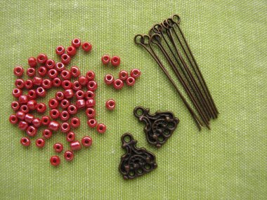 Beads and pieces for making earrings, handmade jewelry