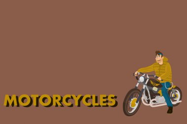 Cartoon motorcycle with driver. vintage stylish bike. flat design for logo