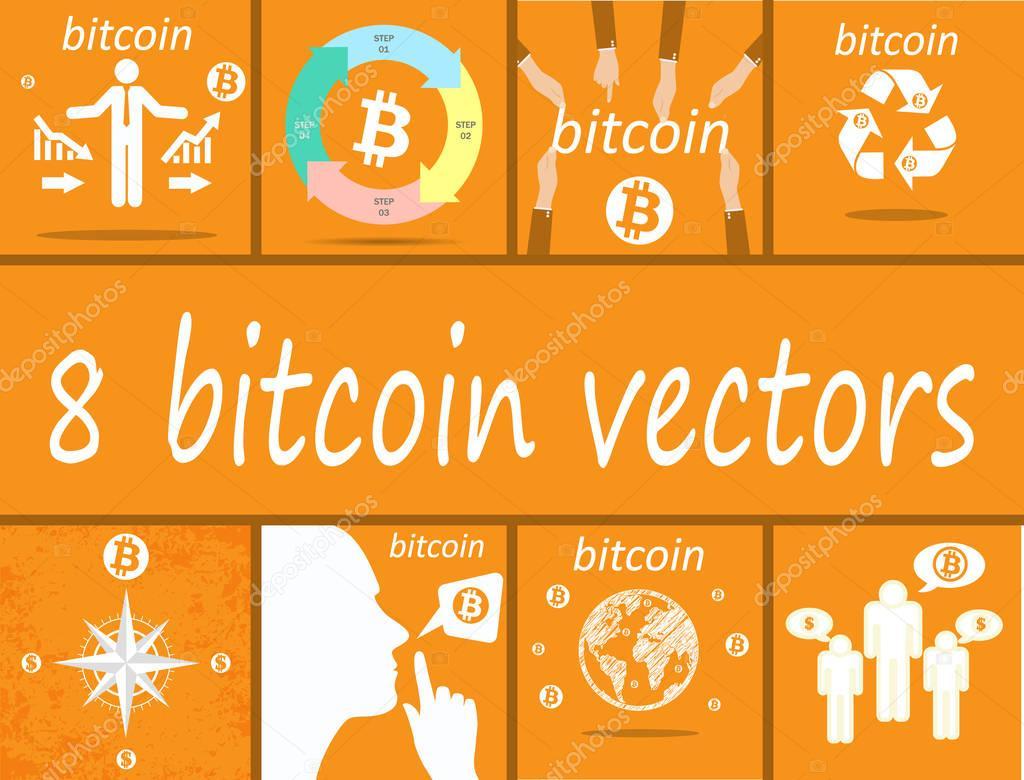 8 bitcoin vectors for web design