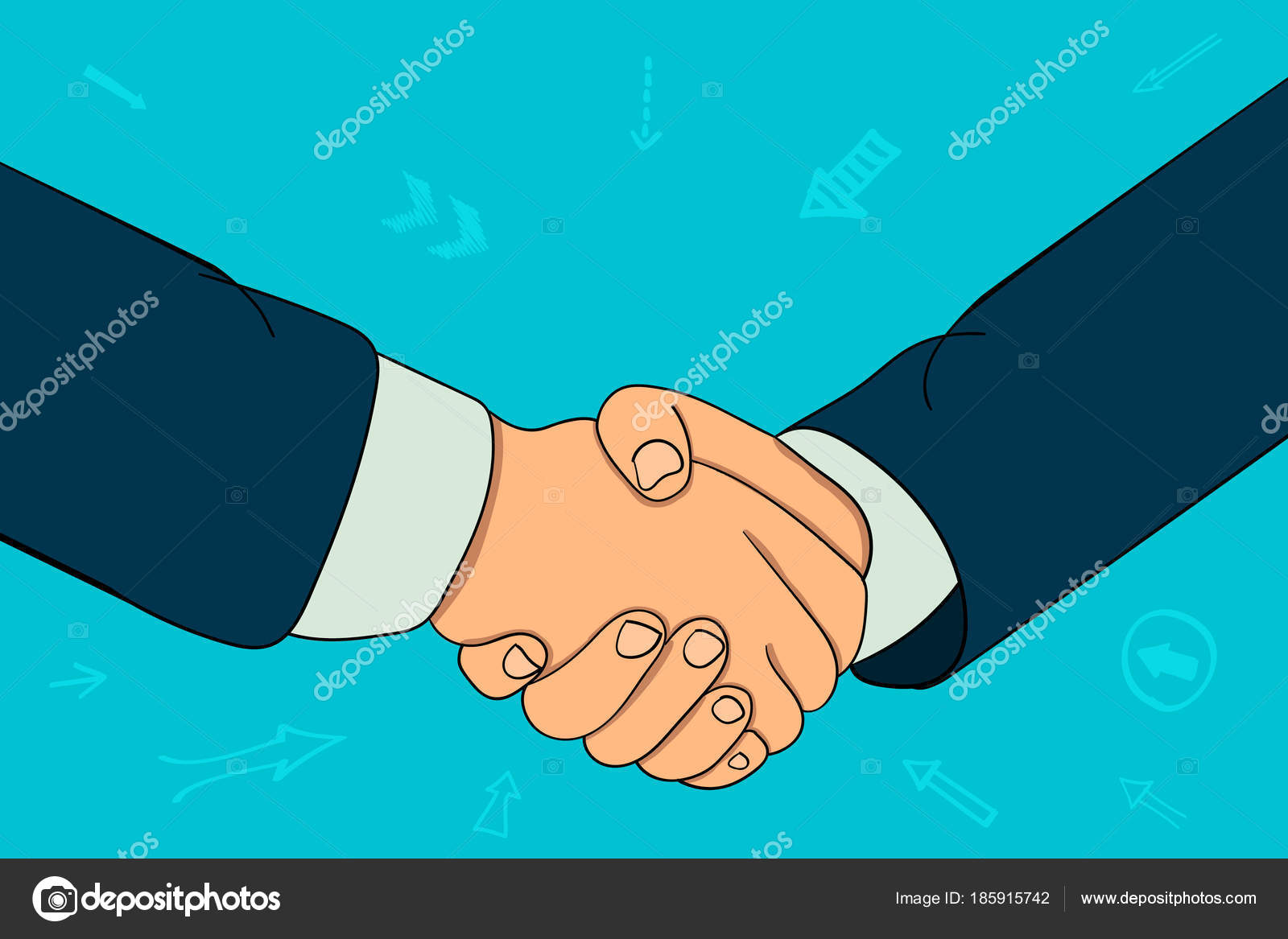Apretón de manos de dos hombres de negocios. contrato — Vector de ...