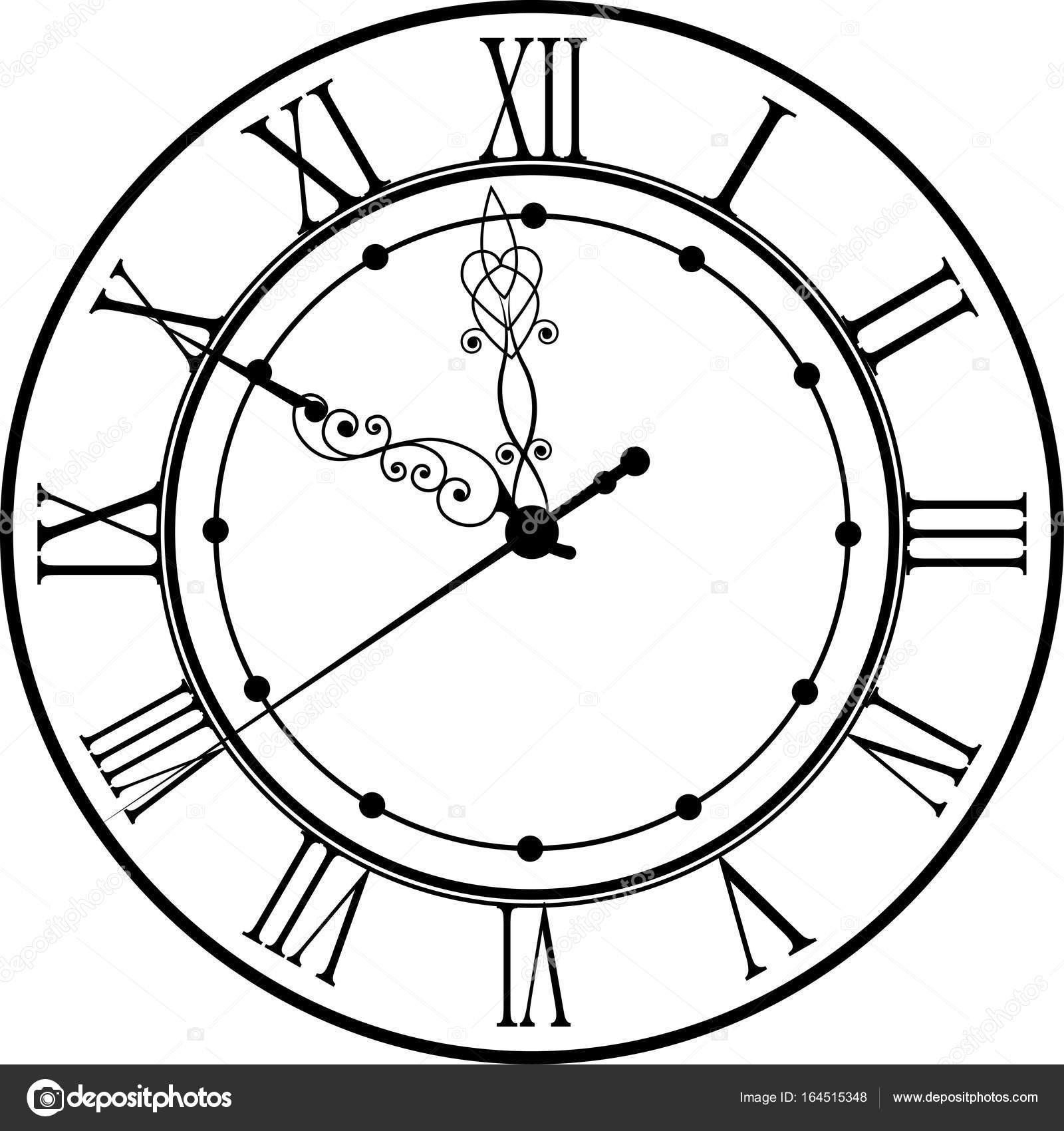 Retro Clock With Roman Dial Stock Vector 169 Ovi801 164515348