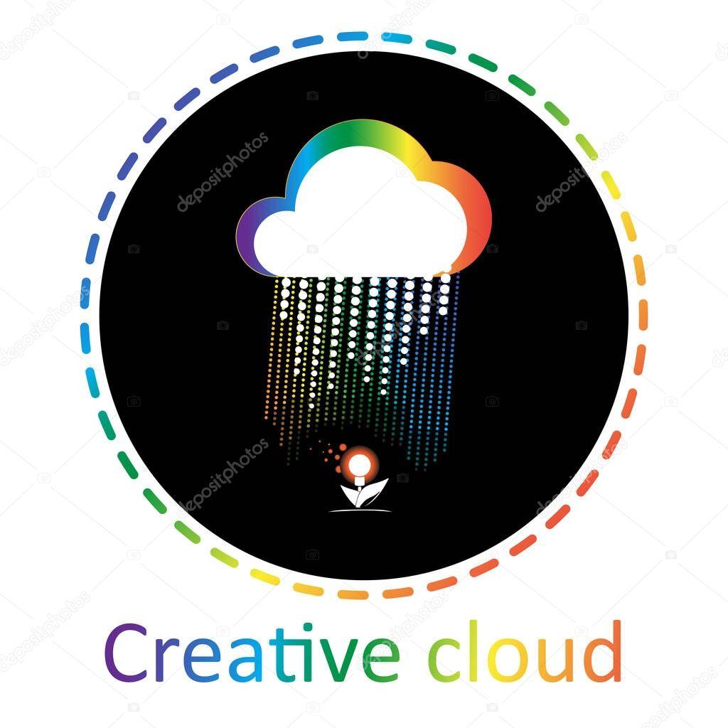 cloud pours light bulb