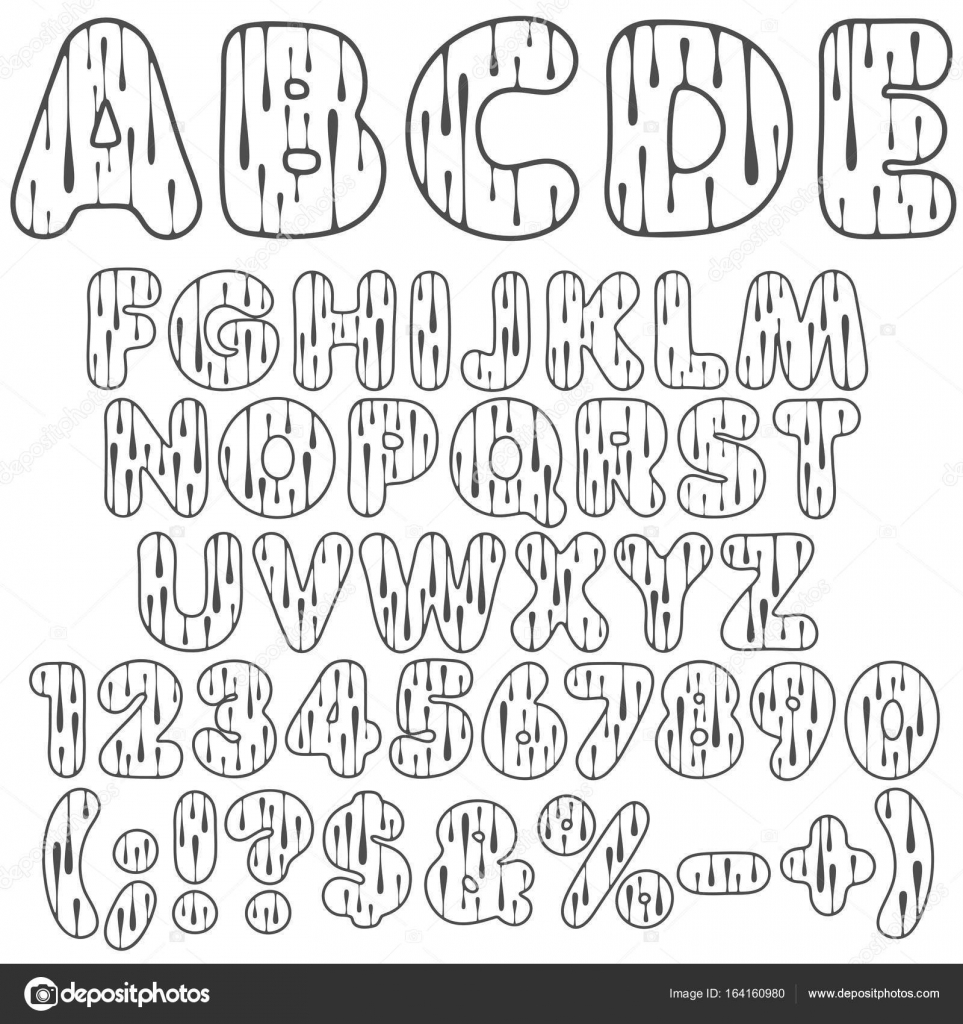 Alphabet Buchstaben Zahlen Und Zeichen Mit Tropfen Isolierte