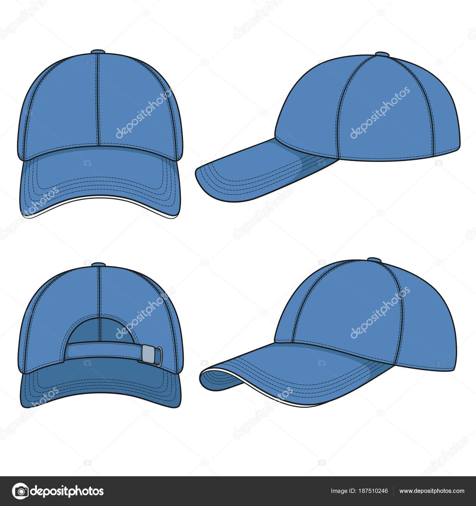 青い野球帽のカラー イラストのセットです 白い背景の分離ベクトル