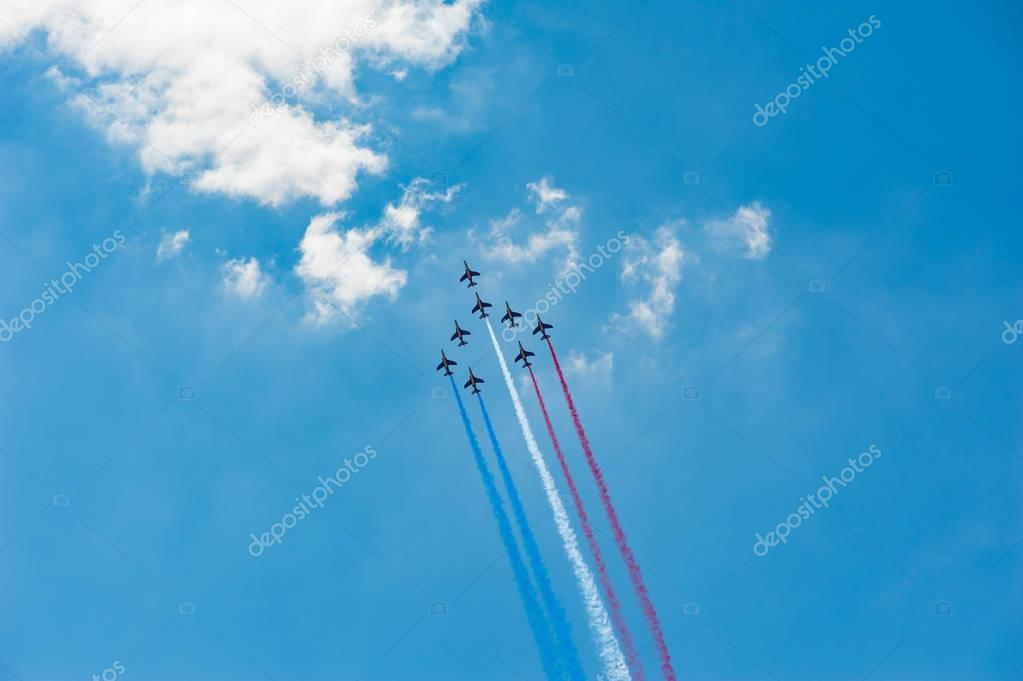 French air patrol in blue sky