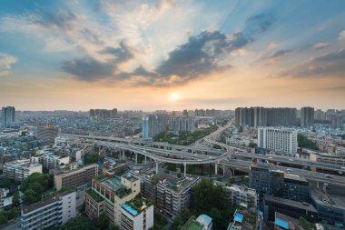 YingMenKou interchange at sunset in Chengdu