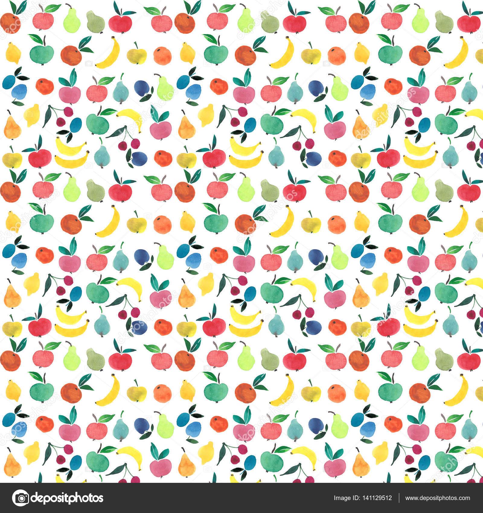 Viele Verschiedene Früchte Und Beeren Helles Muster Aquarell Hand