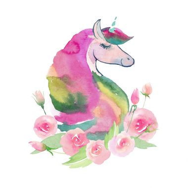 Bright lovely cute fairy magical colorful pattern of unicorns with spring pastel cute beautiful flowers watercolor hand sketch