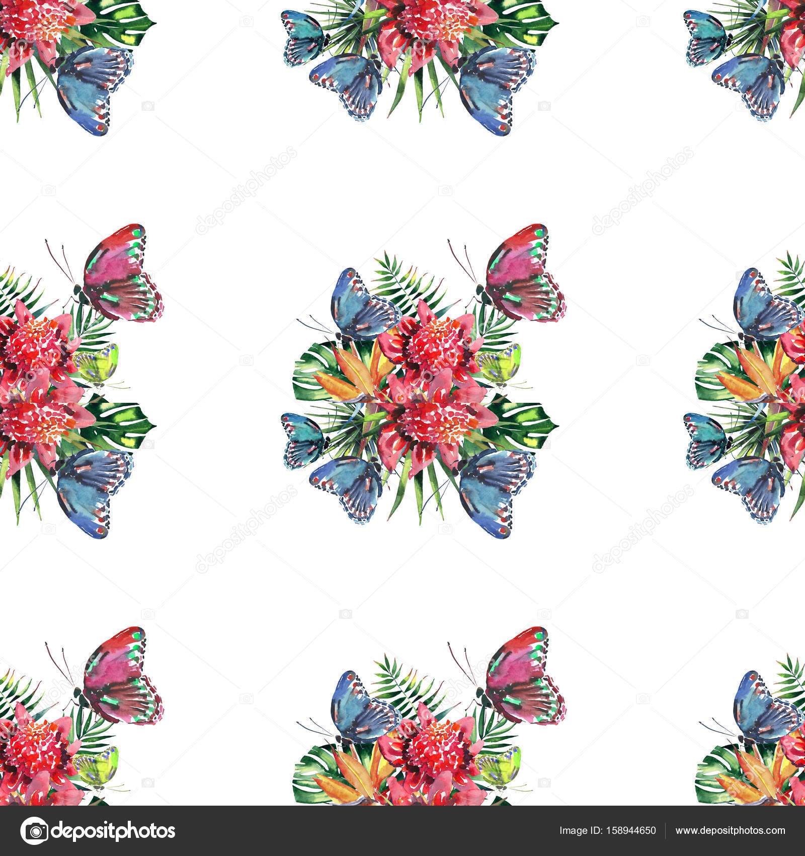 Beautiful Bright Lovely Colorful Tropical Hawaii Floral Herbal Summer Pattern Of Flowers And Red Pink Green Yellow Blue Purple Butterflies