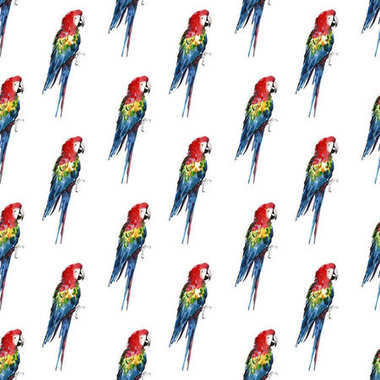 Bright colorful beautiful lovely sophisticated jungle tropical yellow, green, red and blue big tropical parrots pattern diagonal pattern watercolor hand illustration