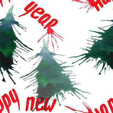 Christmas abstract beautiful artistic bright holiday winter green spruce trees with blots and lettering happy new year pattern watercolor hand illustration. Perfect for textile and greetings cards