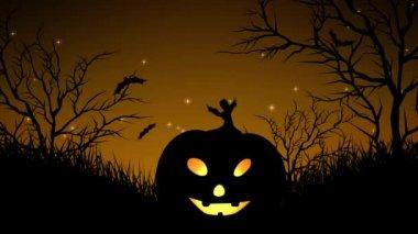 halloween pumpkins in forest yellow