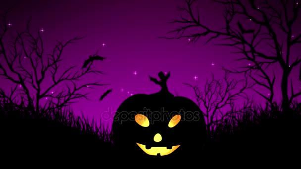 Halloween dýně v lese purpurová