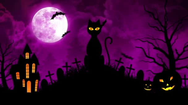 Scary Cat and Castle and Moon in Purple Background