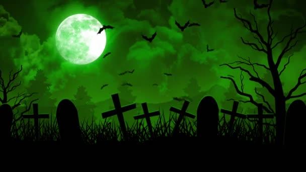 Halloween temető zöld égen