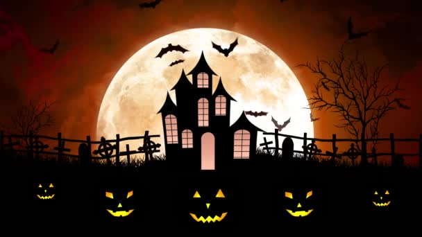 Halloween Hold felett vár-Narancs égbolt