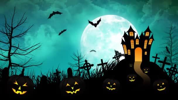 Halloween haunted vár a halványkék a háttér