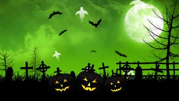 Halloween szellemek és a temető zöld ég