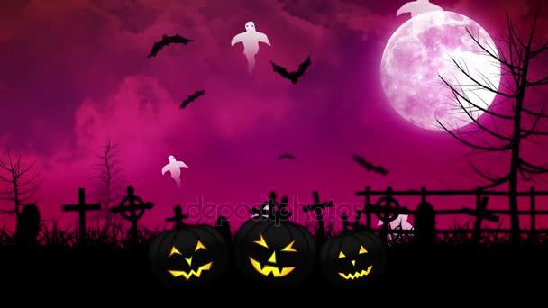 Halloween szellemek és a temető rózsaszín ég