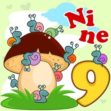 English digit nine.