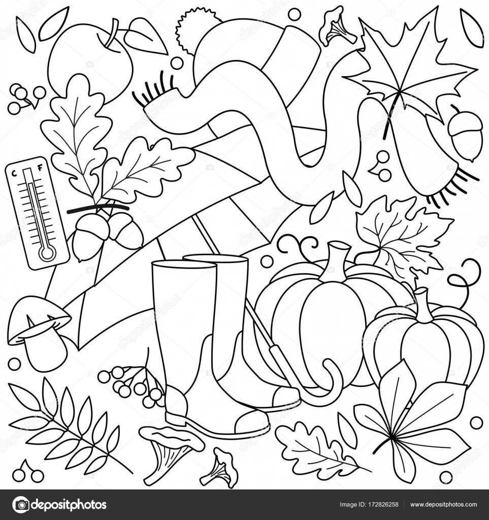 Kleurplaten Van Herfst.Herfst Kleurplaten Voor Kinderen Stockvector C Huhabra 172826258