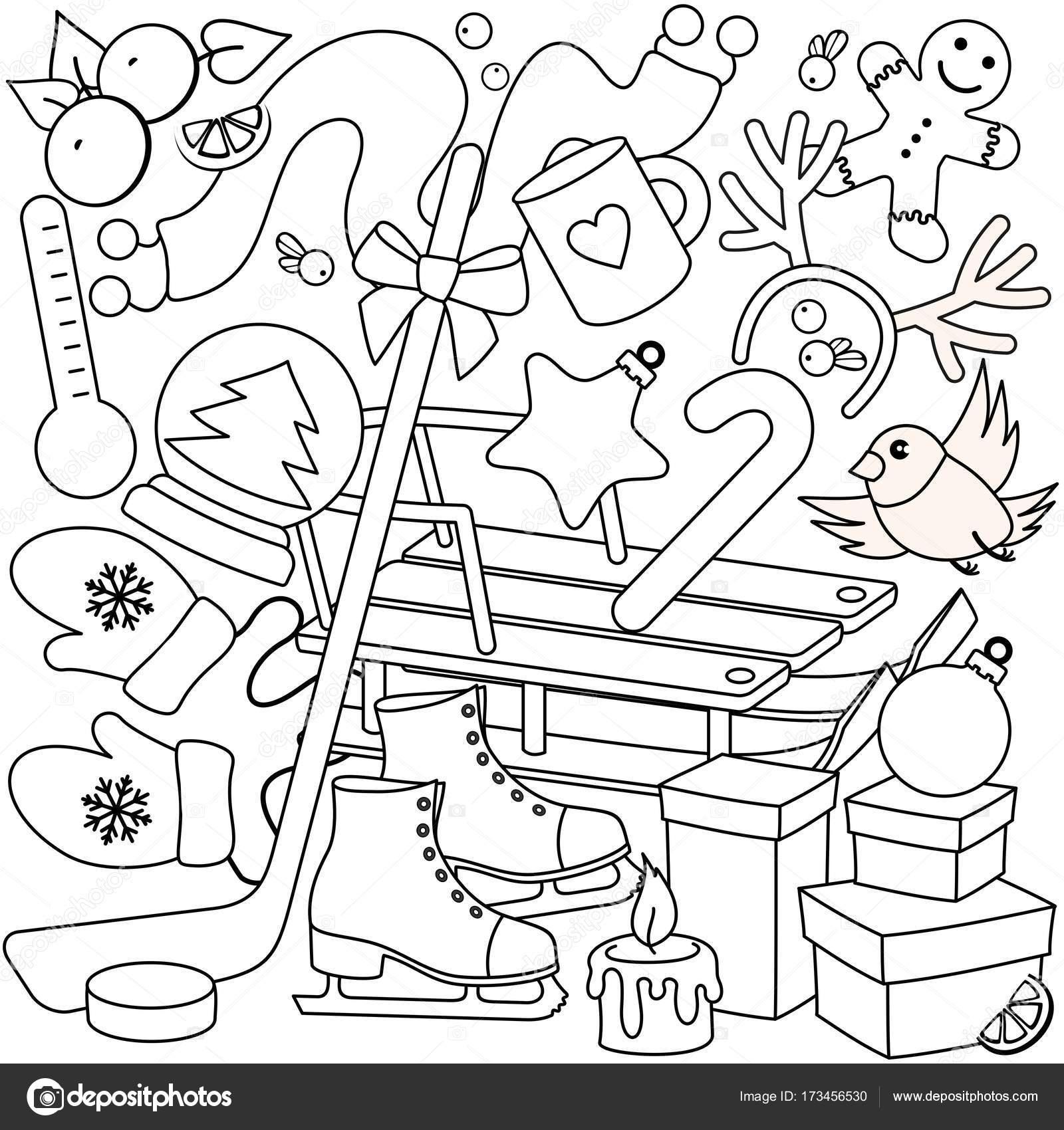 Kleurplaten Voor De Winter.Winter Kleurplaten Voor Kinderen Stockvector C Huhabra 173456530