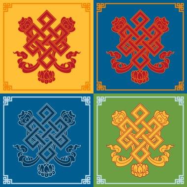 Color endless knot icons. Buddhist symbols. Symbols wisdom & enlightenment. stock vector