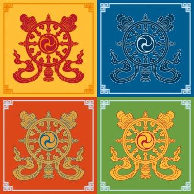Color Dharma Wheel Dharmachakra Icons. Symbols wisdom & enlightenment. Nepal, Tibet. Buddhism symbols. Vector illustration. stock vector
