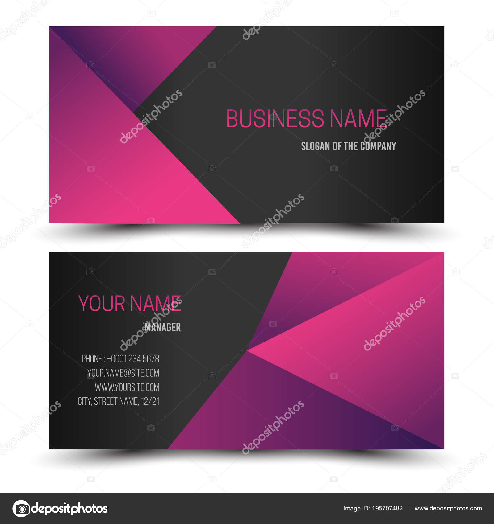Black dark pink modern creative business card name card horizontal black and dark pink modern creative business card and name cardhorizontal simple clean template vector design layout in rectangle size vector by mpmpya reheart Image collections