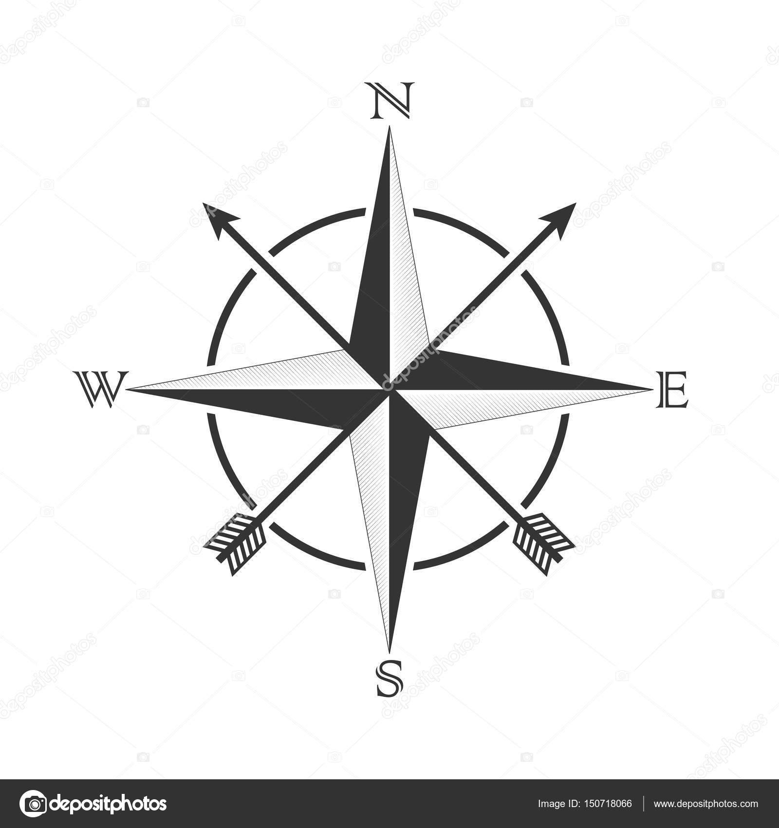 Compas De Vecteur Avec Rose Des Vents Et Des Fleches Dans Le Style