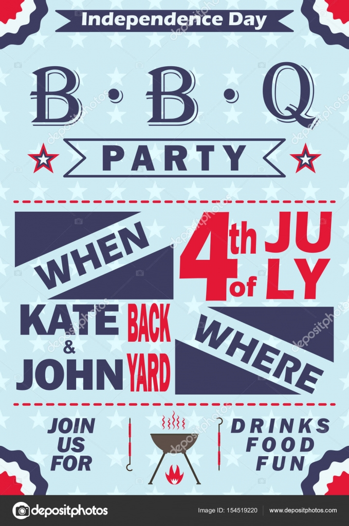 Vector Independence Day barbecue party invitation. BBQ invitation ...
