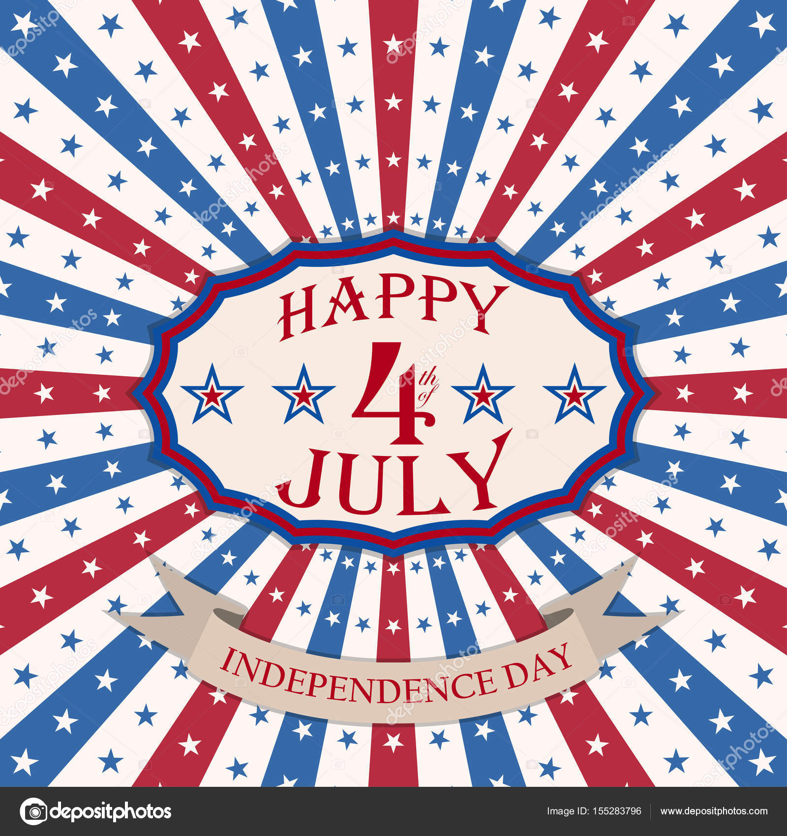 Vector Happy 4th Of July Background With Stars And Stripes Usa