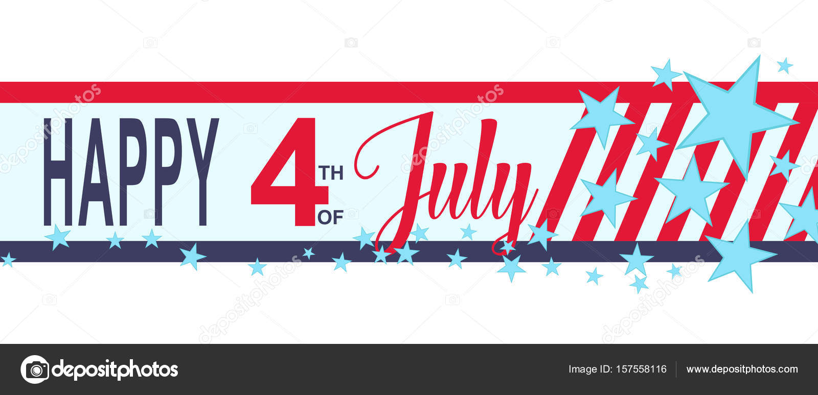 vector happy 4h of july banner with stars and stripes usa