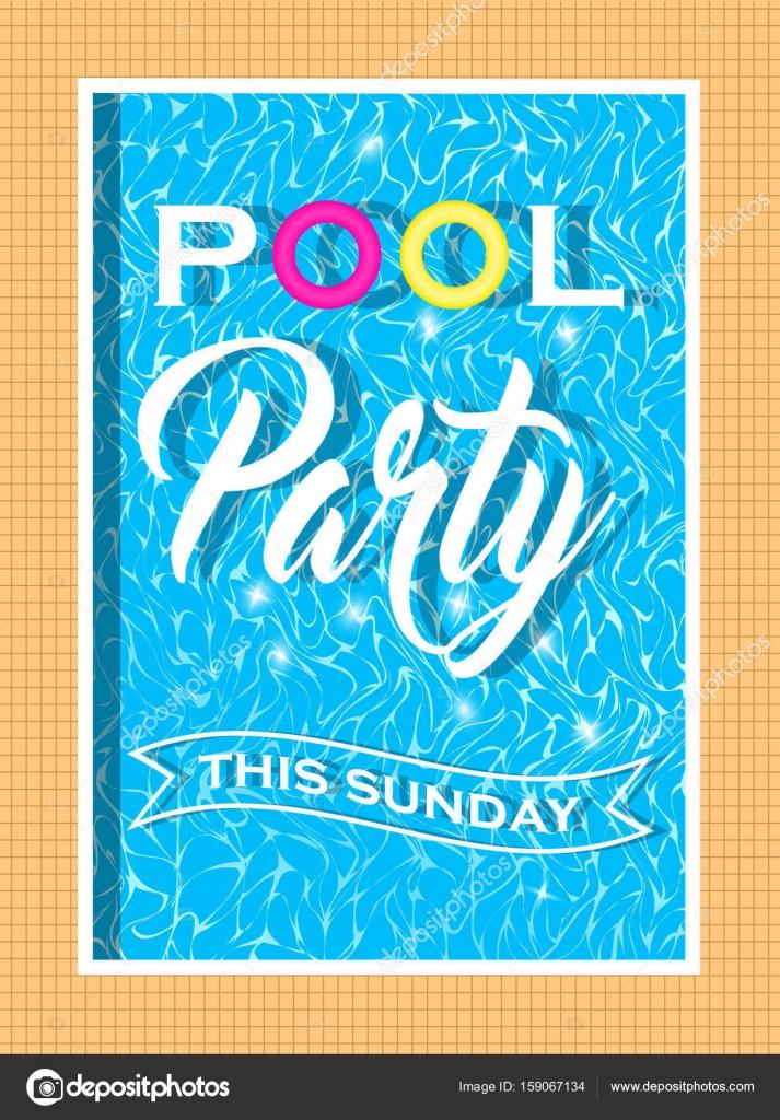 diseño de invitación de fiesta de piscina de vector. plantilla